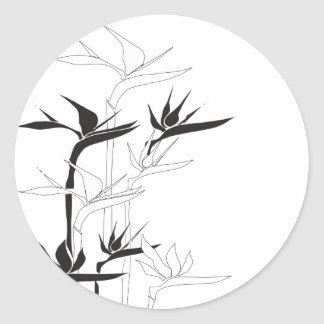 Monochrome Bird of Paradise Classic Round Sticker