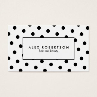 Monochrome black and white polka dots business card