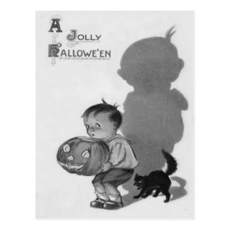 Monochrome Boy Jack O Lantern Shadow Black Cat Postcard