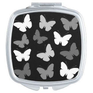Monochrome Butterflies Design Travel Mirror