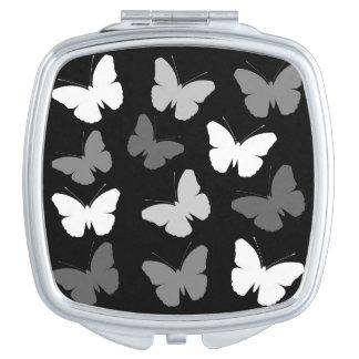 Monochrome Butterflies Design Vanity Mirror