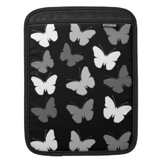 Monochrome Butterflies Pattern iPad Sleeve