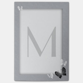 Monochrome Butterfly Monogram Post-it Notes