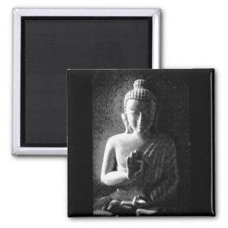 Monochrome Carved Buddha Square Magnet