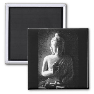 Monochrome Carved Buddha Square Magnet