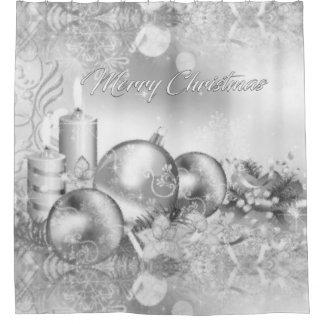 Monochrome Christmas Shower Curtain