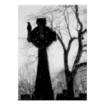 Monochrome Crow on Celtic Cross Poster