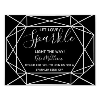 monochrome crystal geo sparkler send off wedding poster