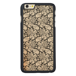 Monochrome Floral Pattern Carved® Maple iPhone 6 Plus Case