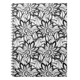 Monochrome Floral Pattern Notebook