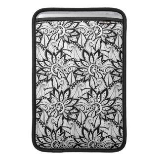 Monochrome Floral Pattern Sleeve For MacBook Air