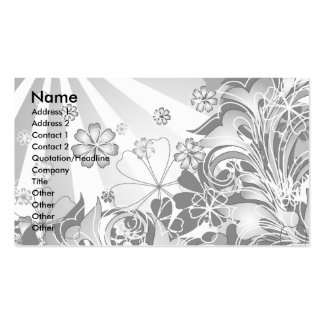 monochrome flowers_card Double-Sided standard business cards (Pack of 100)