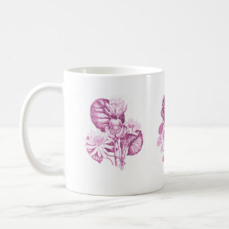 Monochrome flowers in pink coffee mug