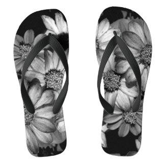 Monochrome Flowers Photograph On Flip Flops