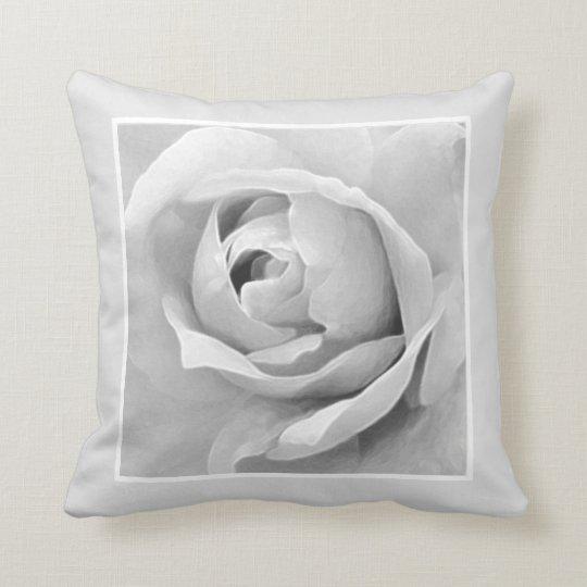 Monochrome Framed White Rose Bud Cushion