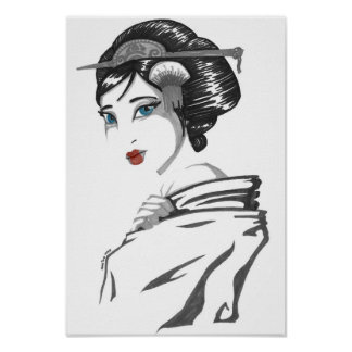 Monochrome geisha poster