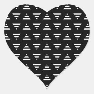 Monochrome Geometric Pattern. Stripe Triangles. Heart Sticker