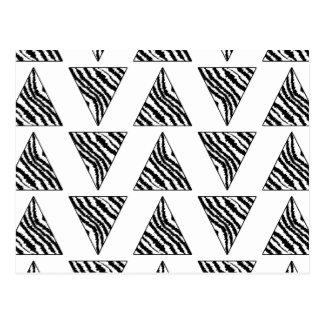 Monochrome Geometric Pattern with Zebra Stripes Post Card