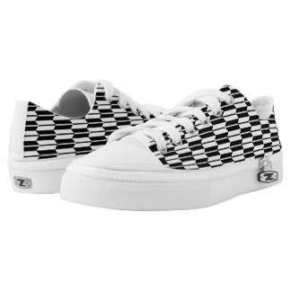Monochrome Geometric Pattern Zipz Printed Shoes