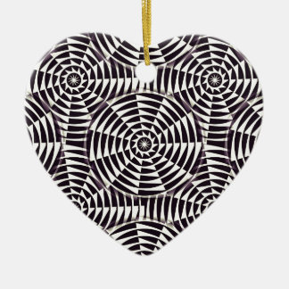 Monochrome geometric seamless pattern ceramic heart decoration
