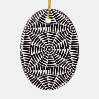 Monochrome geometric seamless pattern ceramic oval decoration