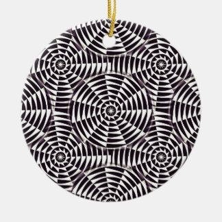 Monochrome geometric seamless pattern round ceramic decoration