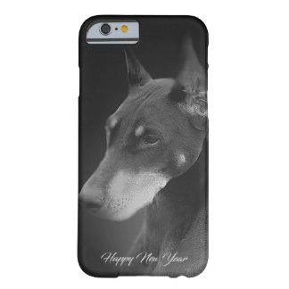 Monochrome Happy New Year Doberman Barely There iPhone 6 Case