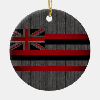 Monochrome Hawaii Flag Christmas Ornament