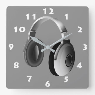 MONOCHROME HEADPHONES WITH WHITE NUMERALS SQUARE WALL CLOCK