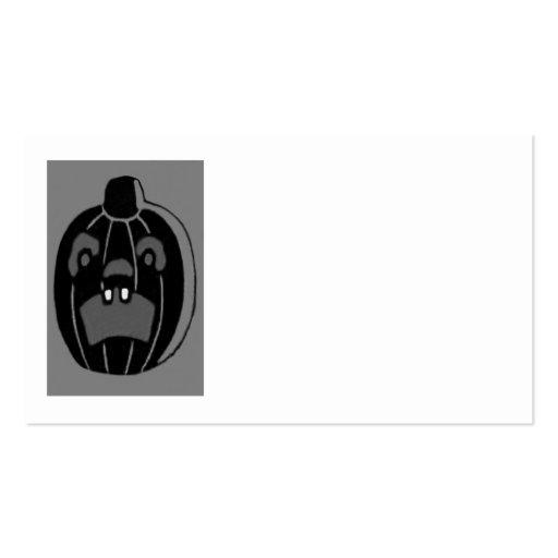 Monochrome Jack O Lantern Pumpkin Business Card Template