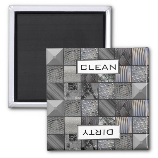 Monochrome Mosaic Tiled Pattern Clean/Dirty Magnet