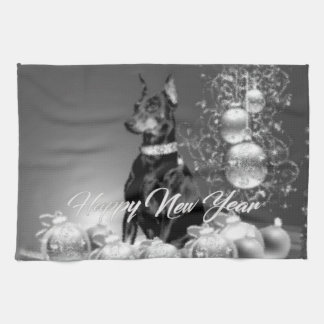 Monochrome New Year Kitchen Towel