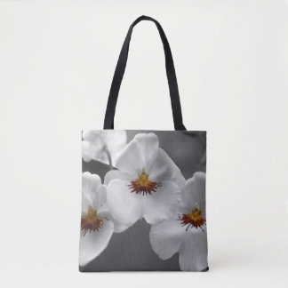 Monochrome Orchids All Over Print Tote Bag
