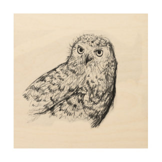 Monochrome owl drawing wood print