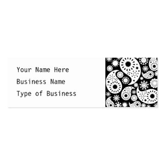 Monochrome Paisley Pattern Design. Pack Of Skinny Business Cards