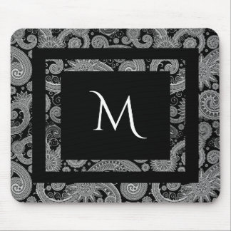 Monochrome Paisley with Initial Mouse Pad