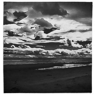 Monochrome Picture of Dornoch Beach Napkin