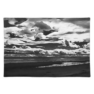 Monochrome Picture of Dornoch Beach Placemat