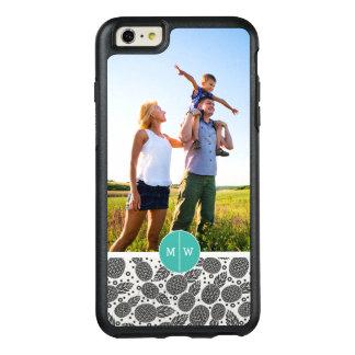 Monochrome Pineapples | Add Your Photo & Monogram OtterBox iPhone 6/6s Plus Case