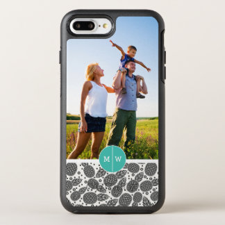 Monochrome Pineapples| Add Your Photo & Monogram OtterBox Symmetry iPhone 7 Plus Case