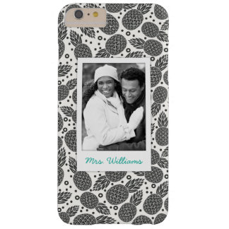 Monochrome Pineapples | Add Your Photo & Name Barely There iPhone 6 Plus Case