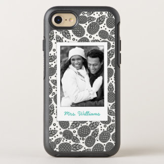 Monochrome Pineapples | Add Your Photo & Name OtterBox Symmetry iPhone 8/7 Case