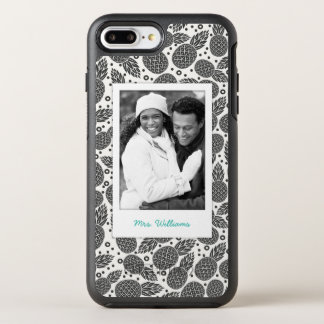 Monochrome Pineapples | Add Your Photo & Name OtterBox Symmetry iPhone 8 Plus/7 Plus Case
