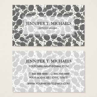 Monochrome Pineapples | Monogram Business Card