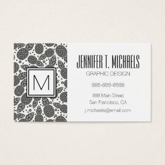Monochrome Pineapples | Monogram Business Card