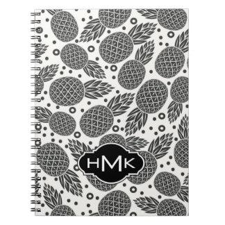 Monochrome Pineapples | Monogram Spiral Notebook
