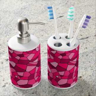 Monochrome Pink Geometrical Pattern Mosaic Design Bath Accessory Sets