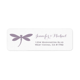 Monochrome Purple Dragonfly Address Label Template