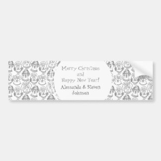 monochrome singing angels on white background bumper stickers