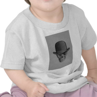 Monochrome Skull Derby Hat Tee Shirt